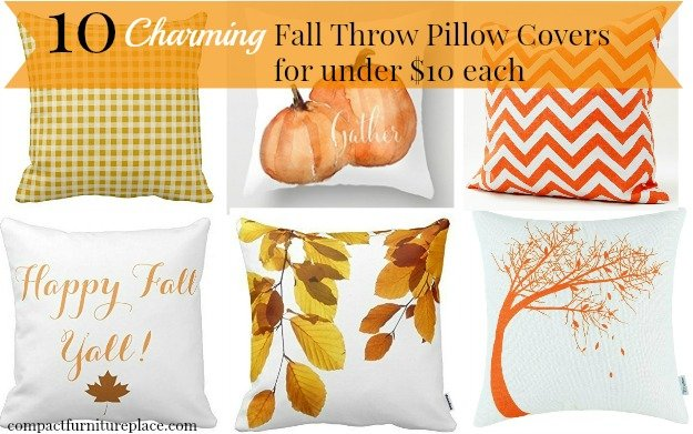 10 Charming Fall Throw Pillow Covers for less than $10 each. These are a great way to decorate your small space for fall.