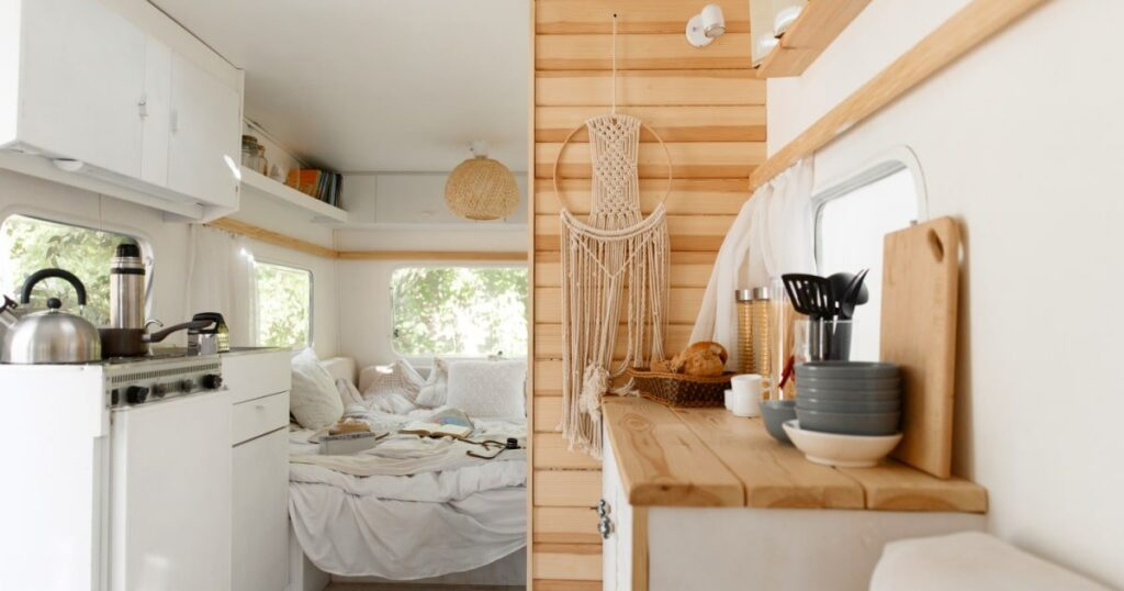 Travel Trailer interior decor in white and wood