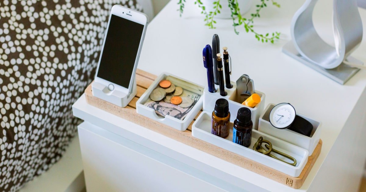 bedside storage alternatives to this nightstand cluttered with necessities